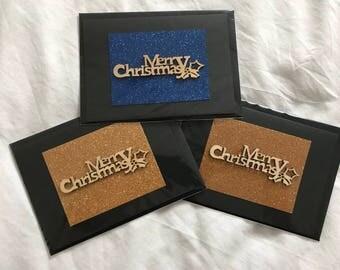 Three Glitter Merry Christmas Cards