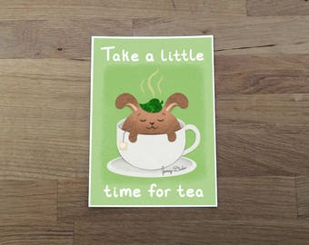 Tea Bunny Print 5x7, tea art, kitchen art, tea quote, cute print, tea lover