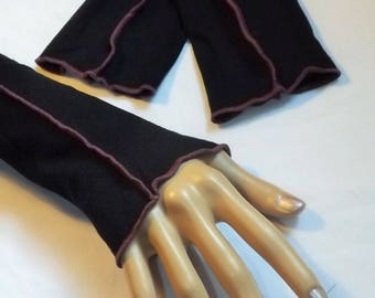 Arm warmers Black jersey long sleeve purple cotton piping