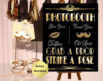 PRINTABLE Photobooth sign*Gatsby party decoration* , Roaring 20s Art deco*Wedding photobooth sign*Grab a prop and Str