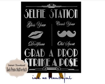PRINTABLE Silver and Black*Selfie Station Gatsby party decoration* , Roaring 20s Art deco*Wedding photobooth sign*Grab a prop and Strike