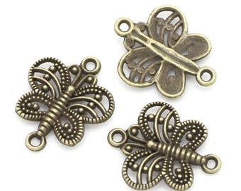 4 17mm bronze Butterfly connectors