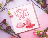 Love you a latte Greeting Card - Square