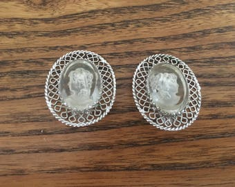 Whiting and Davis Oval Clear Glass Cameo and Silver Filigree Earrings 1305