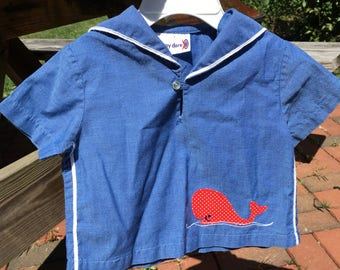 Baby vintage sailor top with whale