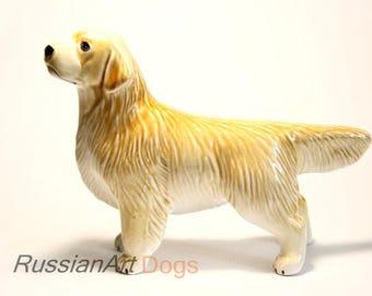 Golden retriever dog ceramic figurine handmade statuette