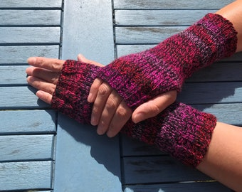 Hand knitted fingerless gloves, wrist warmers, arm warmers, fingerless mittens, winter accessories, gifts for women.