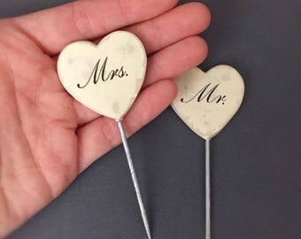 Wedding Cupcake Toppers, Mr and Mrs, Heart Cupcake Topper, Wedding Cupcake, Cupcake Topper, Wedding Cupcake Pick, Wedding Cupcake Decoration