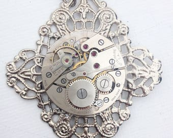 Silver filigree steampunk watch movement necklace