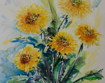 Dandelions floral watercolor painting Yellow flowers art Original watercolor art with flowers Yellow dandelions painting Yellow and Green