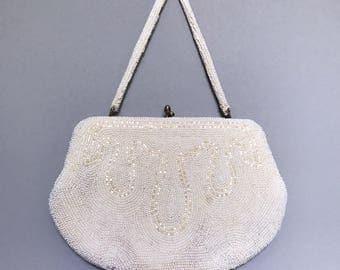 Hand beaded purse, vintage bridal purse, vintage wedding purse, evening bag, cream, ivory, vintage beaded purse, vintage bridal, beaded bag