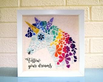 Unicorn picture, unicorn wall art, unicorn decor, unique wall art, daughter gift, nursery decor, quirky unicorn gift, unicorn frame