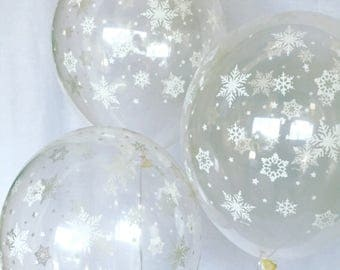 Clear with white Snowflake 11 inch Latex Balloons~Winter Onederland First Birthday~Baby Shower~Snowflake Balloon~Wonderland Party~Snowflake
