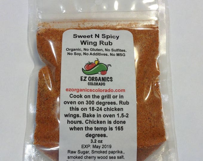 NEW Organic Sweet N Spicy Wing Rub no soy no MSG no sulfites no additives