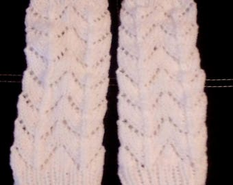 Leg warmers white for women, knitted by hand, pattern, lace, very warm, 32 cm height