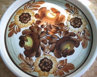 Vintage Polish, Plate Candy Dish, Decorative Folk Plate, Hand Painted, White Brown, Floral Flowers, Polish Pottery Ceramics, circa 1970's