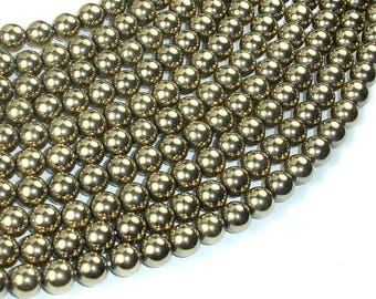 Hematite Beads-Gold, 8mm Round Beads, 15.5 Inch, Full strand, Approx 52 beads, Hole 1mm, AA quality (269054020)
