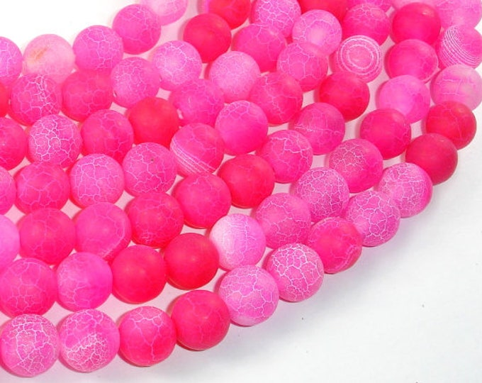 Frosted Matte Agate Beads-Pink, 10mm Round Beads , 14.5 Inch, Full strand, Approx 38 beads, Hole 1mm (122054041)