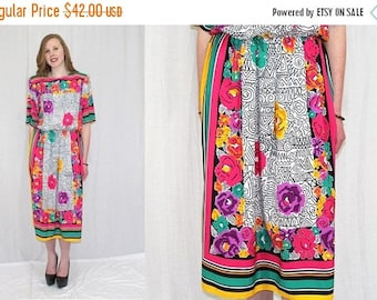 Summer Sale Vintage 80s Toni Todd BOLD Floral SCARF Print Retro Midi Secretary Day Dress M L