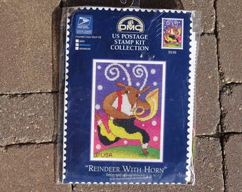 Reindeer With Horn, US Postage Stamp Kit, Counted Cross Stitch Kit,  DMC Creative World Kit,  New, Complete  Kit