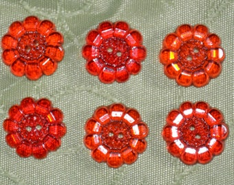 button flower red set of 6