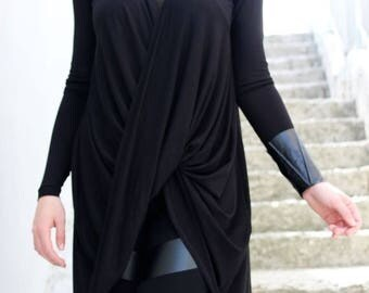 SALE Oversized Tunic/ Black Top / Black Tunic/ Cotton top/ Twisted Tunic/ Asymmetric Tunic/ Everyday Top/ Spring Top/ by Fraktura B0053