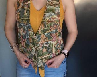 Vintage 80s Tapestry Vest, Vintage Vest