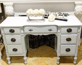 Gray Wash Seven-Drawer Desk w/ Pure White Top
