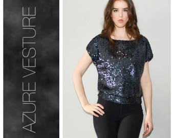 1980s Glam T-shirt Top. 80s Sequin Shirt, Evening, Party Top, Club, Disco. Size small-Medium