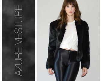 Real Fur Coat, Black Rabbit Fur Coat, 1980s 80s, 1990s 90s, High Fashion, Size Small Medium