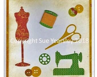 Handmade card sewing theme in yellow & green