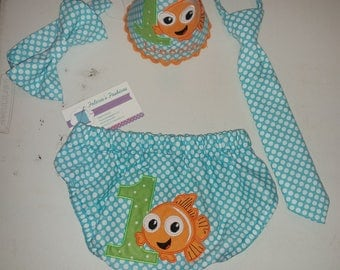 Nemo cake smash outfit Finding Nemo 1st Birthday Smash Cake Party Outfit Photo Prop Bow Tie Hat Baby Toddler Boys Bottoms