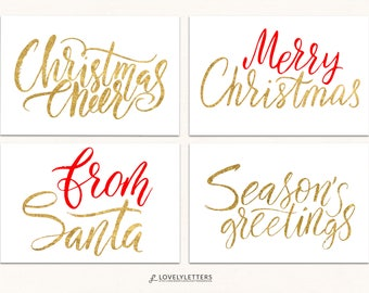 Gold Christmas Gift Tags / DIGITAL / Merry Christmas Tag / Holiday Gift Tag / From Santa Tag / Faux Gold Foil Christmas Tag / Santa Gift Tag