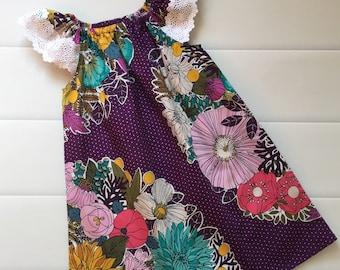 Girls Dress ,Flutter Sleeve, Size 4, Purple , Boho, Purple Dress, Floral, handmade girls dress, party dress, birthday dress, s