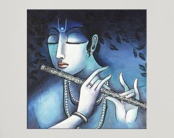 Krishna Painting, Indian art, Hindu God, Contemporary art, Painting on canvas, Indian Wall art, Hindu art, Asian decor, Indian decor, Nikki
