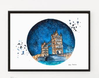 London Bridge Painting, Travel Illustration, Starry Night, Art Print, Architecture art, City art, London Print, Printable art, London poster