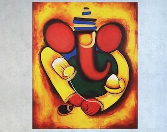 Ganesha Wall art, Indian art, Ganesha Painting, India painting, Contemporary art, Figurative art, Indian decor, Hindu God, Art on canvas