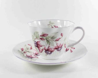 Rosina Queens Fine Bone China Pink Floral Teacup and Saucer Set Made in England