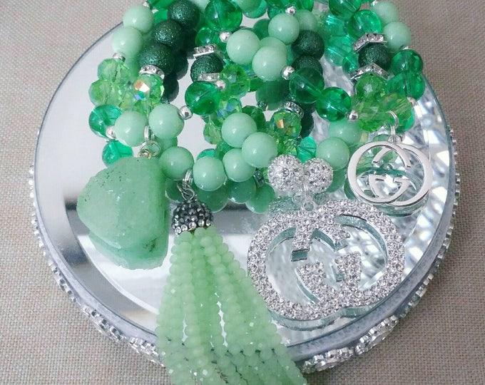 Designer Inspired Mixed Green Beaded Charm Bracelet, anniversary gifts, gifts for her, birthday gifts, Stone bracelet, tassel Bracelet