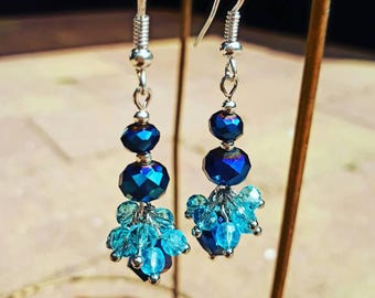 Fifty shades of blue. Long cluster earrings. Crystal glass and silver.