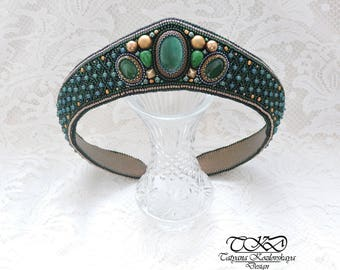 "Beaded kokoshnik ""Forest Princess"""