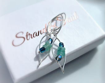 Ancient Roman Glass Earrings With Czech Glass & Sterling Silver - Gift For Her