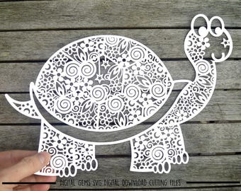 Zentangle Tortoise paper cut svg / dxf / eps / files and pdf / png printable templates for hand cutting. Download. Small commercial use ok