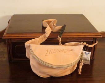 Spring Sale Very cool vintage Walt Disney Indiana Jones Tan Leather Fanny Waist Pack From 1989- New With Original Tags