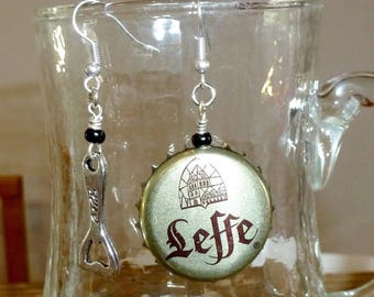 """Earrings caps of beer """"leffe"""" and the bottle opener"""