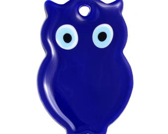 Glass Owl Wall Decoration with Evil Eye - HP051