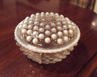 Vintage Anchor Hocking Opalescent Moonstone Hobnail Glass Dresser Jar with Lid