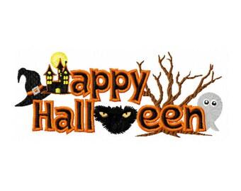 Happy Halloween Embroidery Design - Spooky Halloween Embroidery Design - Halloween Saying Embroidery Design - Kids Halloween Embroidery
