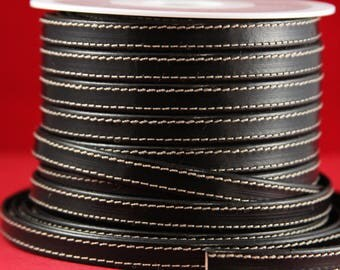 """MADE IN SPAIN 24"""" flat stitched leather cord, black 10mm flat leather cord, 10mm stitched leather cord (240/10/01)"""