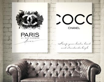Set of 2 Coco Chanel prints. Coco Chanel sign, Coco Chanel quote. Fashion set prints. Coco Chanel wall art. Chanel Watercolor. Chanel logo.